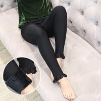 冬季加绒黑色小脚裤女外穿胖妹妹加肥加大码弹力高腰打底裤保暖裤