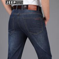 JEEP吉普牛仔裤男春秋潮男牛仔长裤男士时尚休闲中腰直筒牛仔裤子