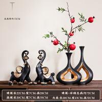 客厅工艺品摆件 现代简约现代简约家居摆件中式轻奢陶瓷花瓶客厅电视柜工艺术软装饰品