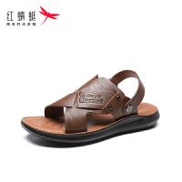 【红蜻蜓1件2折,领�宦�100再减20】红蜻蜓凉鞋男中年人爸爸防滑厚底夏休闲沙滩鞋凉拖鞋外穿