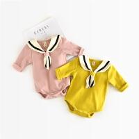 女童宝宝长袖三角哈衣爬服婴儿连体衣秋季纯棉学院风包屁衣新生儿