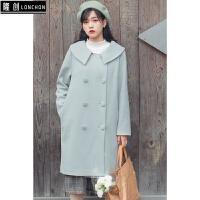 冬装新款韩版宽松毛呢外套中长款呢子大衣针织毛衣+半身裙子套装