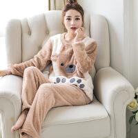 秋冬季法兰绒睡衣女珊瑚绒长袖加厚大码韩版可爱卡通家居服套装