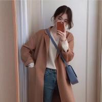 2018秋季新款韩版2018冬季新款驼色翻领双面呢宽松显瘦中长款羊毛呢大衣外套女