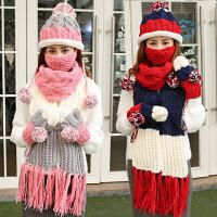 加绒毛线帽子围巾手套三件套装一体拼色围脖冬季女生生日圣诞礼物