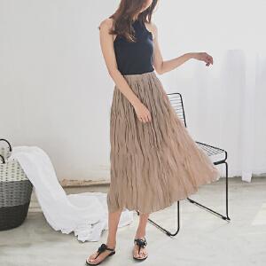 RANJU 然聚2018女装夏季新品新款 韩版乱折雪纺半身裙中长裙