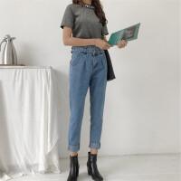 18春季新款版百搭显瘦双腰带个性百搭休闲学生女士牛仔裤潮
