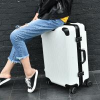 铝框拉杆箱万向轮行李箱女定制logo图案韩版小清新学生20寸登机箱 撞色白配黑 铝框箱来图案定制