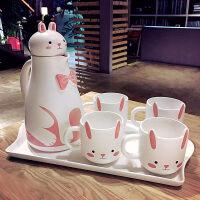 �W式骨瓷咖啡杯套�b英式卡通下午茶茶具��意陶瓷杯��s家用花茶杯 萌萌兔杯具套�b【067】送杯刷
