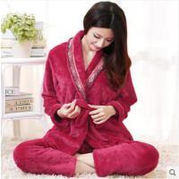 气质系带珊瑚绒家居服套装法兰绒睡衣女加厚韩版开衫大码修身