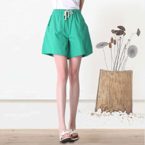 夏季新款棉麻短裤女热裤阔腿直筒裤