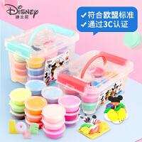 迪士尼超轻粘土24色36色橡皮泥套装安全儿童彩泥太空纸黏土沙玩具