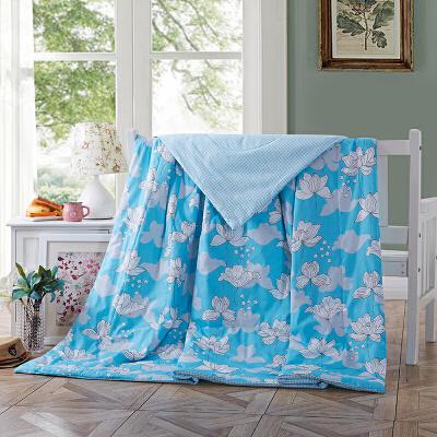 当当优品 全棉印花水洗夏凉被 空调被 午睡被 花香醉(蓝)200*230cm当当自营 纯棉面料 环保印染0刺激 可水洗不变形