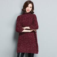长款大码韩版毛衣裙 冬季新品七分袖女式毛衣 半高领打底裙