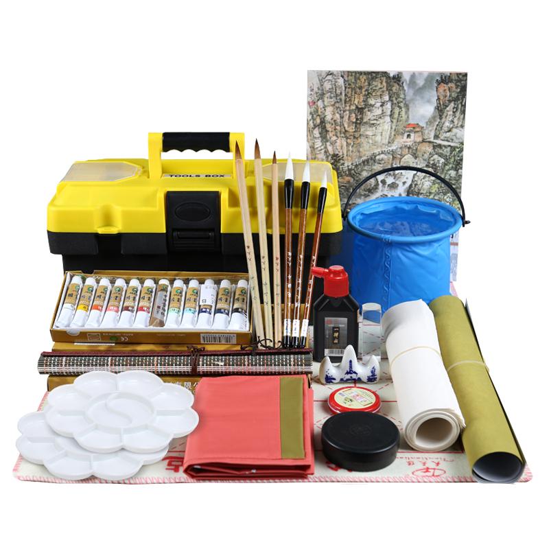 马利颜料24色山水画国画工具套装入门初学者成人国画毛笔写意花鸟