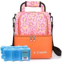 V-Coool妈咪包套装 爱心小屋双层大容量母乳保鲜包/妈咪背奶包/储奶包(橘色)+新型干式蓝冰2个