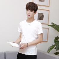 竹节棉圆领短袖T恤男士文艺范潮流直筒纯色体恤半袖打底衫