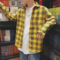 春装新款港风时尚格子男士长袖衬衫青少年学生大码男装衬衣潮