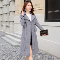 18春季装韩版时尚黑白格气质风衣外套中长款显瘦简约配腰带女装