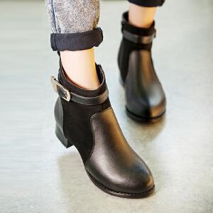 【满200减100】【毅雅】时尚性感绑带拼接低跟女靴舒适平底休闲女鞋子靴子 YM5PG6034