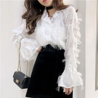 春季女装新款韩版复古港味西装领衬衣时尚羽毛纯色喇叭袖衬衫上衣