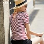 【每满200减100 多买多减 不封顶】 Amii 极简欧洲站ins心机T恤女2018夏V领交叉绑带修身百搭条纹上衣