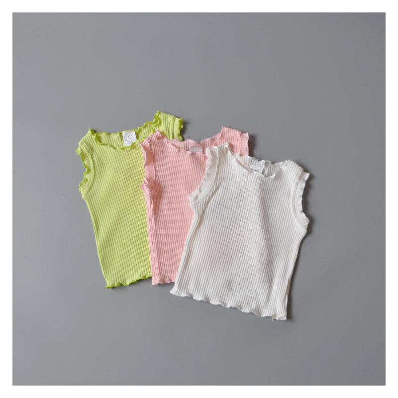 女童木耳边坑条背心纯棉婴儿无袖上衣女宝宝纯色百搭上衣1-2-3-4 发货周期:一般在付款后2-90天左右发货,具体发货时间请以与客服协商的时间为准
