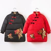 2018冬装新款女童中长款加厚保暖宝宝刺绣金鱼中国风棉袄外套