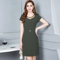 拼接修身连衣裙女夏季新款气质优雅韩版中长款大码女装打底裙 军绿