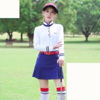 高尔夫球服装衣服女套装薄长袖上衣短裙裤 +