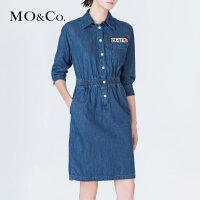 MOCO夏季半开襟贴布绣开衩七分袖牛仔连衣裙女MA172DRS401摩安珂