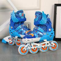 溜冰鞋儿童全闪套装男童轮滑鞋女童旱冰鞋可调直排轮四轮滑轮鞋男