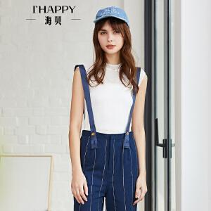 海贝2018夏装新款女上衣 白色立领无袖针织套头衫修身百搭打底衫
