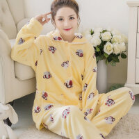 珊瑚绒睡衣女法兰绒套装大码加厚款保暖家居服韩版甜美可爱 支持礼品卡支付