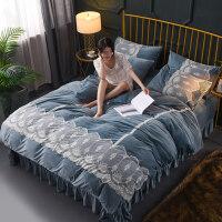 加厚保暖水晶绒珊瑚绒床单四件套 法兰绒 双面加绒法莱绒被套1.8m