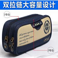 笔袋小学生多功能文具盒大容量初中学生男生帆布铅笔盒袋学习用品