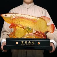 招财金龙鱼办公室桌面摆件树脂工艺品家居客厅电视柜装饰开业礼品
