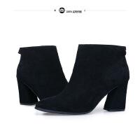 年秋季新款短靴女杨幂同款高跟鞋 磨砂真皮粗跟女靴一件