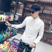 夏季薄款白衬衫男长袖修身韩版潮流休闲衬衣男士商务正装纯色衬衫