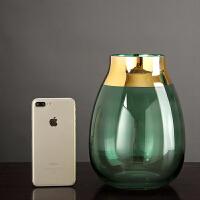 创意玻璃花瓶摆件客厅插花仿真干花餐桌茶几现代简约北欧家居装饰