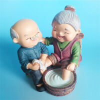 老爷爷老奶奶系列相守相伴摆件洗脚 婚庆礼品饰品家居摆件送爸妈送朋友