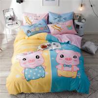 卡通床上用品四件套床笠儿童床品床单人被套三4件套3女孩 笨笨猪 双面纯棉