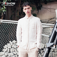 viishow春装新款长袖衬衫 欧美时尚亚麻衬衫男 白色文艺衬衣
