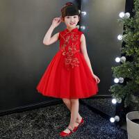 女童半高领红色蓬蓬公主裙甜美喜庆礼服裙主持人花童日常裙子