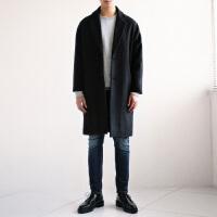 韩版冬季新款男士休闲羊绒大衣中长款纯色翻领学生男纯色风衣外套