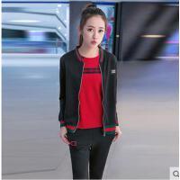 青少年休闲运动服装女韩版少女修身开衫卫衣三件套初中高中学生运动服套装支持礼品卡支付