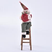 捷�N 圣诞装饰品立体坐梯圣诞老人木质桌面摆件新品创意圣诞节礼品礼物 爬梯老人