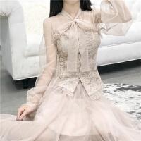 春装新款韩版百搭气质修身复古蕾丝长袖上衣+网纱半身裙两件套女