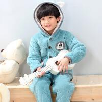 冬季儿童法兰绒睡衣三层加厚款夹棉男孩女童宝宝珊瑚绒家居服套装