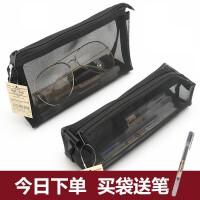韩版猫爪入油流沙笔袋ins网红少女创意亮片透明大容量文具袋